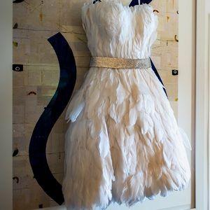 Jovani Strapless Feather Dress